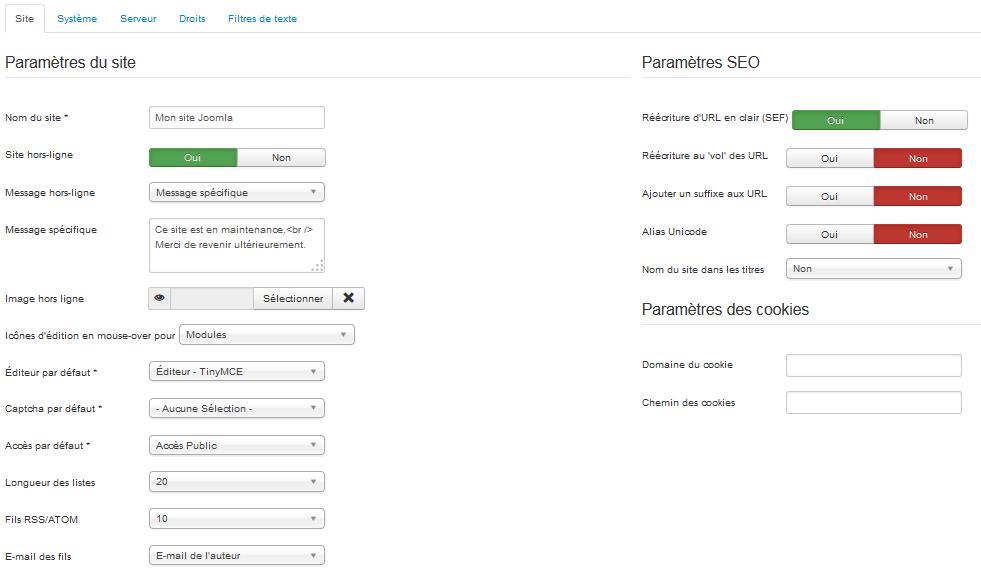 configurer Joomla : Configuration et Paramétrage du site