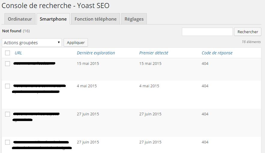 Yoast SEO - Console de recherche - liste des erreurs