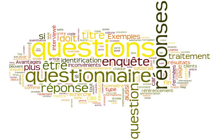 Questions numériques et questions codées du questionnaire d'enquête
