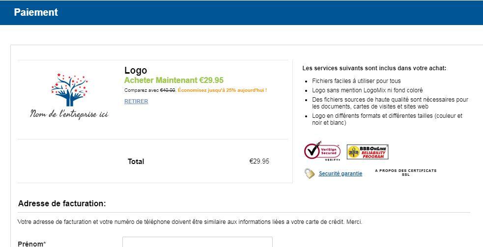 LogoMix a aussi modifié son offre de création de logo gratuite.
