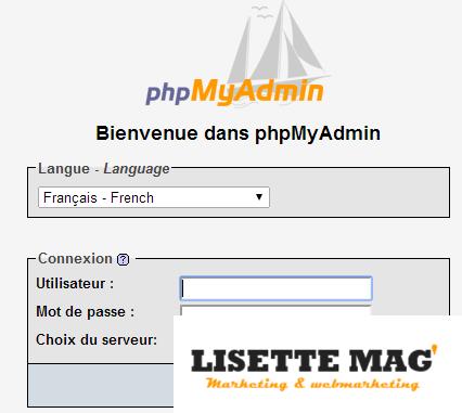 Page d'accueil de PhpMyAdmin - connexion