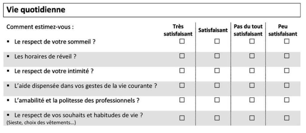 exemple de questions fermées à échelles regroupées en tableau