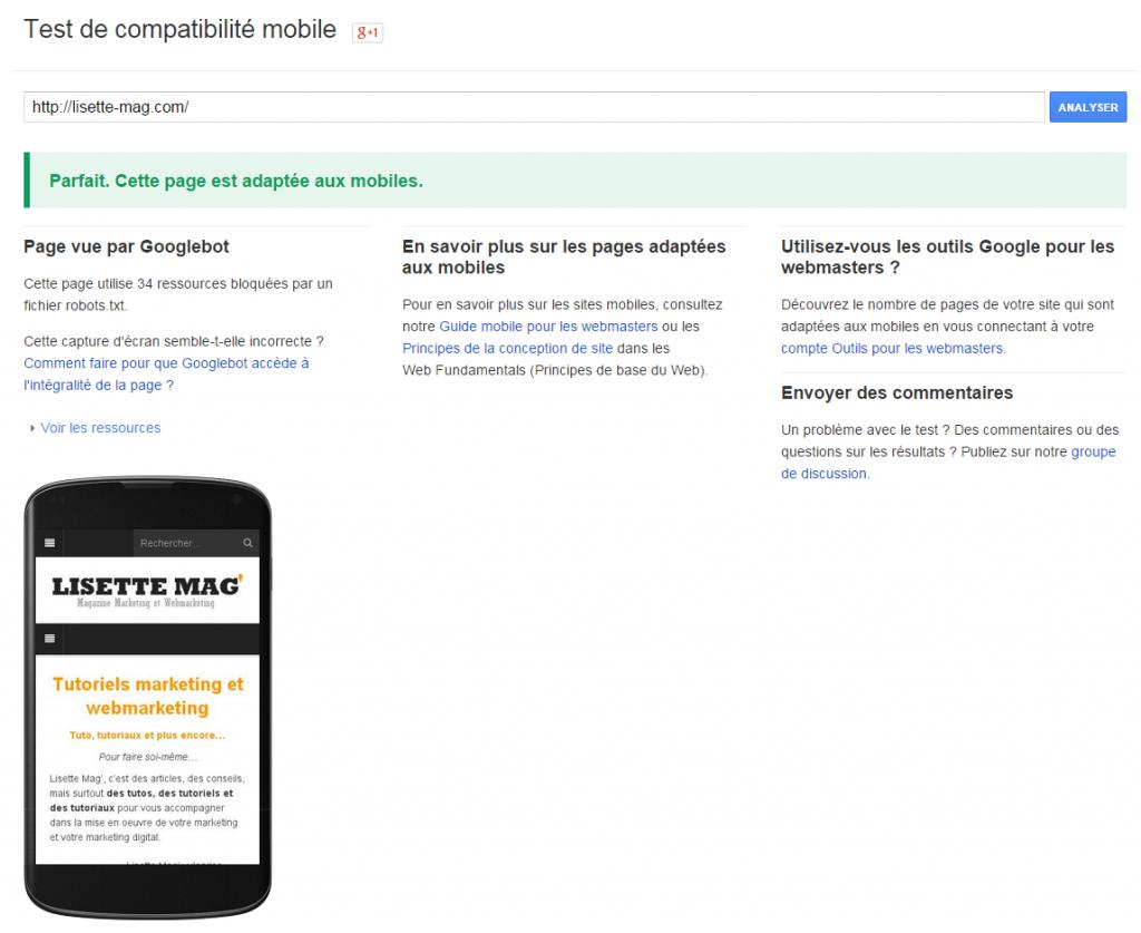Résultat positif test de compatibilité Mobile