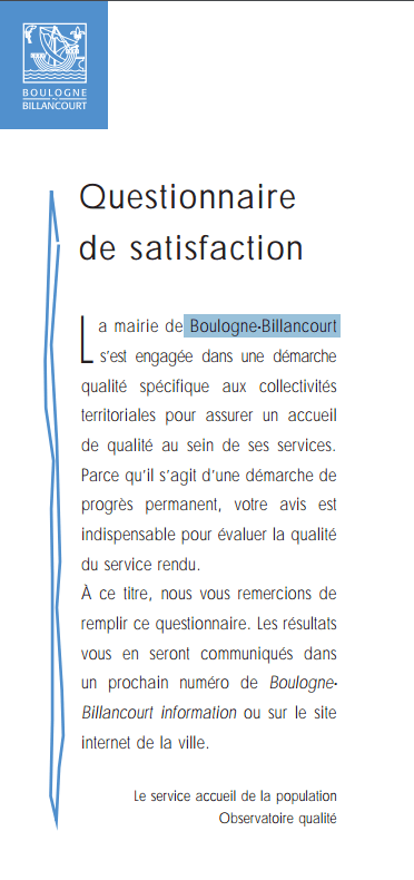 titre et l'introduction du questionnaire - mairie de boulogne