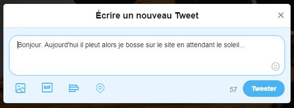 Twitter - écrire un tweet