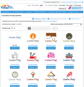 Vistaprint : ancienne version du site