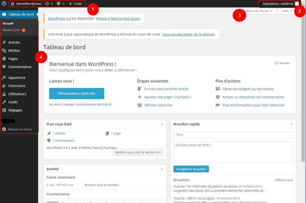Accueil administration WordPress