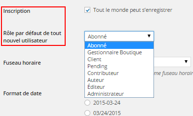 Wordpress : inscription utilisateur