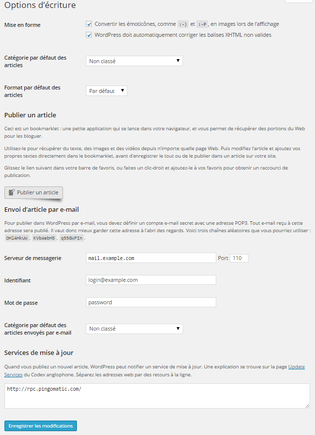 Tutoriel Wordpress : règlages options d'écriture
