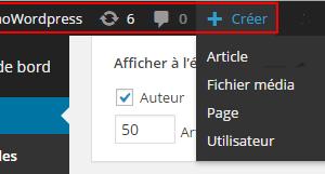 administration WordPress - Raccourci créer