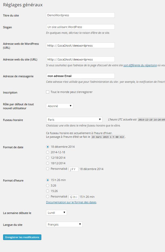 Tutoriel Wordpress : réglages généraux