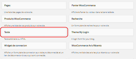 Wordpress - widget texte