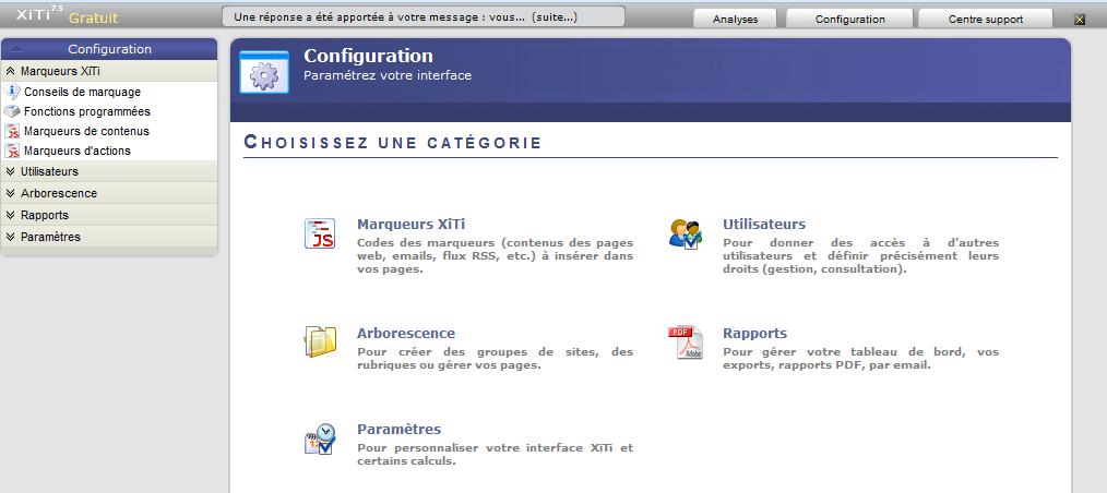 Xiti : l'écran d'accueil de la configuration