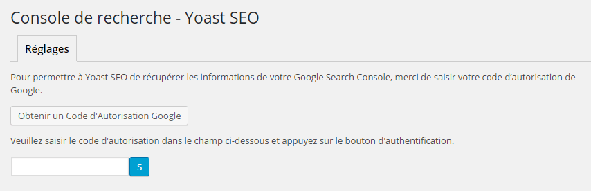 Yoast SEO : console de recherche